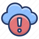 cloud computing, cloud data error, cloud error, cloud hosting, cloud services icon