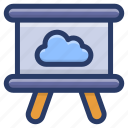 business presentation, cloud easel, cloud presentation, cloud seminar, cloud technology icon