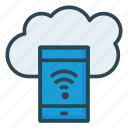cloud, mobile, wifi icon