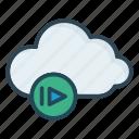 cloud, play, storage icon