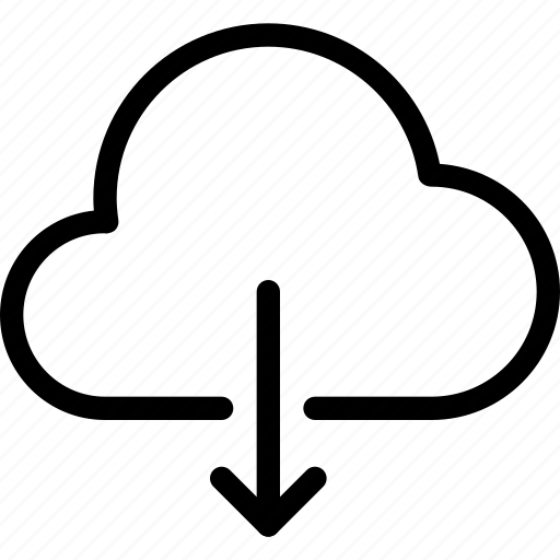 cloud, cloud-computing, cloud-download, download, line-icon, save, storage icon