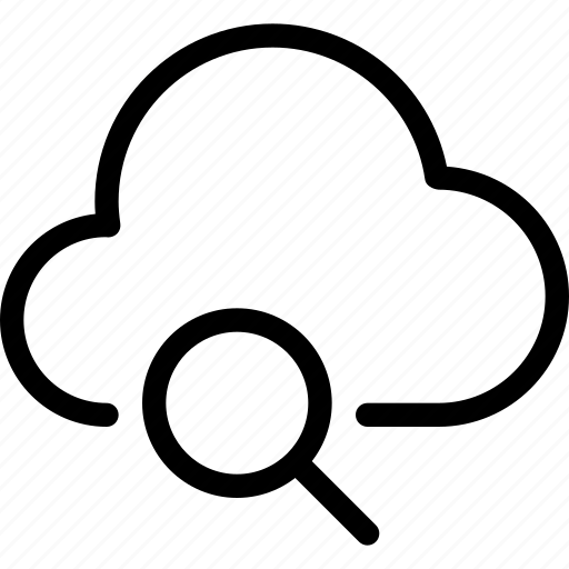 cloud, cloud-computing, find, line-icon, search, search-cloud, storage icon
