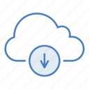 arrow, cloud, download, guardar, hosting, network, save, server icon