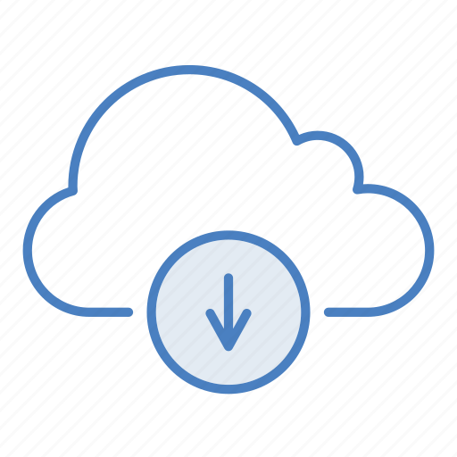 arrow, cloud, download, hosting, network, save, server icon