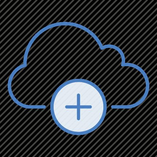 add, add-on, cloud, hosting, network, plus, server icon