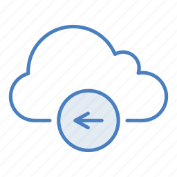 arrow, back, cloud, hosting, network, remove, server icon
