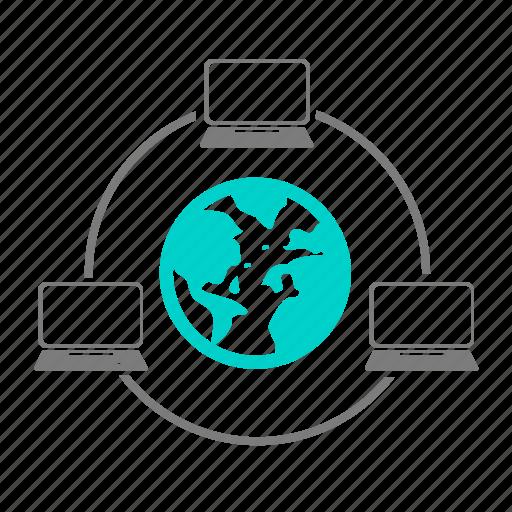 account, business, cash, cloud, communication, computer, world icon
