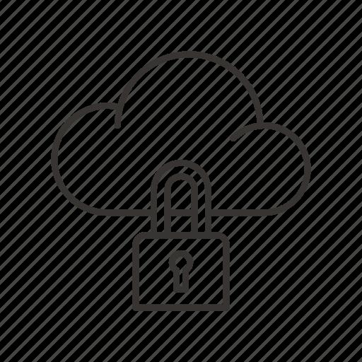 cloud service, data, lock, network, storage icon