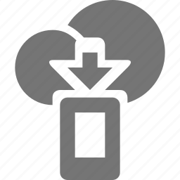 arrow, cloud, device, down, download, mobile icon