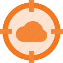 atack, cloud, computing, target icon