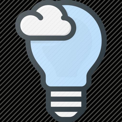 bulb, cloud, computing, ideal, light icon