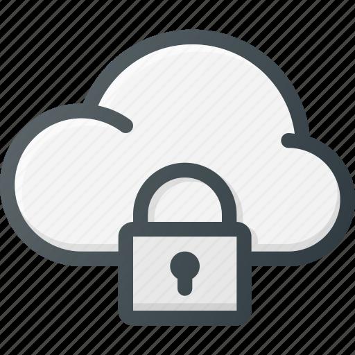 cloud, computing, lock icon
