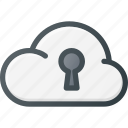 cloud, computing, lock, security icon