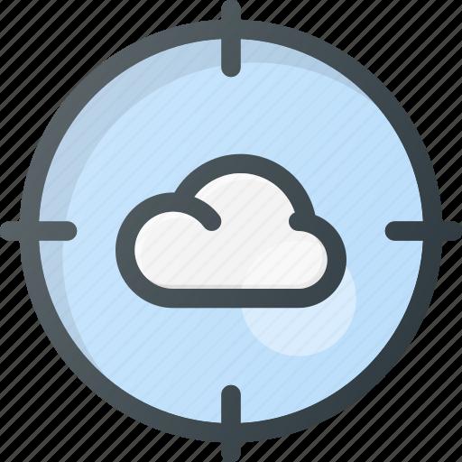 atack, cloud, computing, target icon