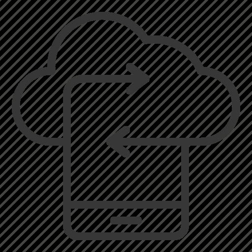 cloud, data, network, smartphone, storage, transfer icon