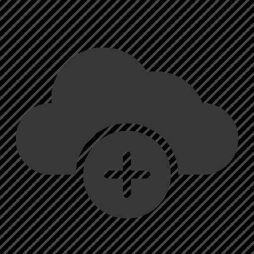 add, cloud, data, plus, storage icon