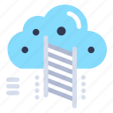 cloud, data, ladder, reach icon
