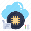 chip, cloud, data, processor icon