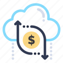 arrow, cloud, data, dollar, money icon