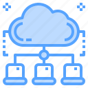 cloud, computing, laptop, network, share icon
