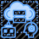 cloud, computing, human, robot, share icon