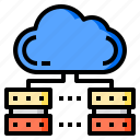 cloud, database, network, server, storage
