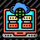 cloud, global, laptop, server, worldwide
