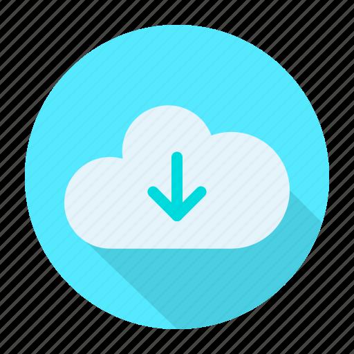arrow, cloud, direction, down icon