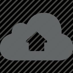 arrow, cloud, dashboard, home, house icon
