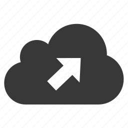 arrow, cloud, outgoing, top right icon