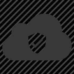 cloud, sheild, tick, trust, verification, verified, verify icon