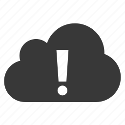alert, cloud, exclamation mark, warning icon