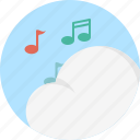 audio, backup, cloud music, internet, musical notes, online, stream icon