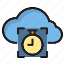 alarm, clock, cloud, computer, interface icon