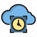 clock, cloud, computer, interface icon