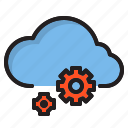 cloud, computer, gear, interface icon