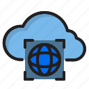 cloud, computer, interface, world icon