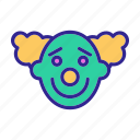 character, circus, clown, cute, happy, miserable, smiling
