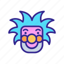 character, circus, clown, face, glasses, hair, tousled