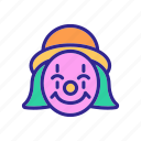 character, circus, clown, happy, hat, satisfied, smiling