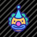 birthday, cap, character, circus, clown, happy, smiling