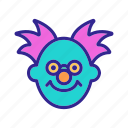 character, circus, clown, glasses, happy, mask, nerd