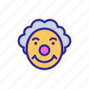 character, circus, clown, sly, smile, smiling, unhappy