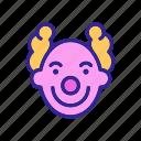 character, circus, clown, curls, hair, happy, smiling