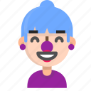 clown, emoji, female, glad, halloween, horror, monster icon