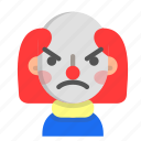 angry, clown, emoji, halloween, horror, monster, scary icon