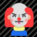 annoying, clown, emoji, halloween, horror, monster, scary icon