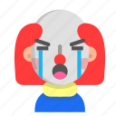 clown, crying, emoji, halloween, horror, monster, scary icon