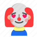 clown, emoji, halloween, horror, love, monster, scary icon