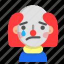 clown, emoji, halloween, horror, monster, sad, scary icon